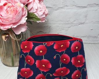 Poppy make up bag, cosmetic bag, poppy gift, toiletry bag, bag, makeup storage, gift for mum,