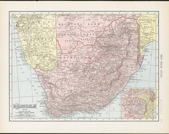 South Africa Map, 1910 Antique & Colorful Illustrated 11x14 Map (Reverse: Full-Page Oceania Australia Map) No. 119-120
