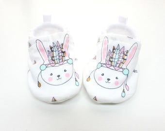 Easter Bunny, Miss Rabbit, baby girl shoes,  soft sole, baby booties, baby moccs, baby shoes, mint, pink, metallic gold, white baby shoes