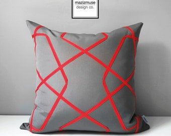 Grey & Red Sunbrella Outdoor Pillow Cover, Geometric Pillow Cover, Decorative Pillow Cover, Gray Red Lattice, Cushion Cover, Mazizmuse