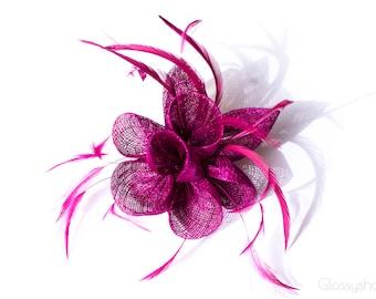 Purple Flower Feather  Fascinator Clip