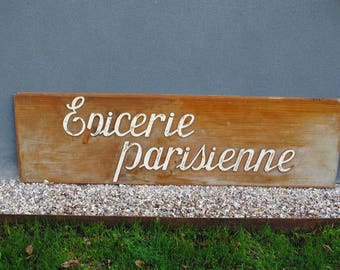 Grocery sign wood Paris antique vintage french