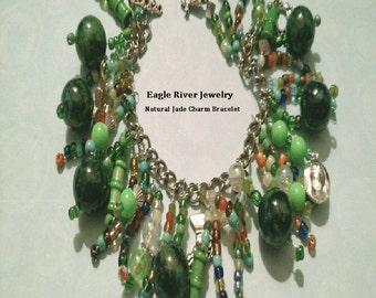 Beautiful Natural Jade Stone Charm Bracelet