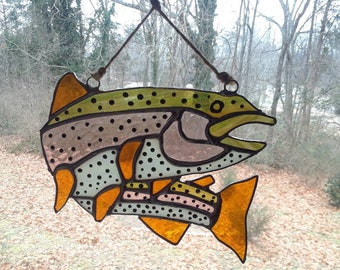 Stained Glass Rainbow Trout Suncatcher