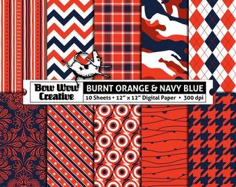 10 burnt orange, navy, digital, scrapbook paper, school colors, team colors, printable, patterns, college, sports, Auburn Tigers, Alabama