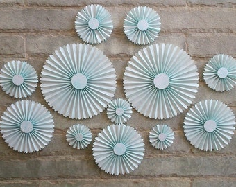SET OF 12 - Blue Paper Rosettes / fans - Table Backdrop, Hanging Decor for Baby shower, Boys Room, Nursery