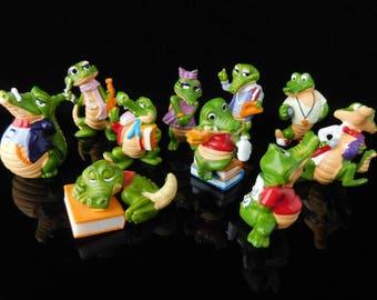 Vintage Toys, Collectible, Crocodile School 1991, CRAZY CROCOS France, Complete Series, Vintage KINDER Surprise Figurines, School gift Pupil