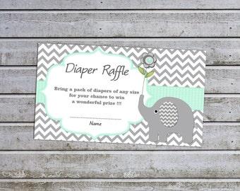 Elephant Baby Shower Diaper Raffle Ticket Diaper Raffle Card Diapers Raffles Printable Digital Files  (A01)