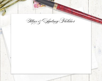 personalized note card set - PERFECTLY BEAUTIFUL - set of 12 flat note cards - feminine stationery - couples stationary