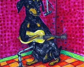 25% off Doberman Pinscher Playing Guitar Dog Art Tile