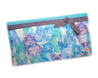 Checkbook woman, checkbook case checkbook case cats, cats, worn original checkbook checkbook blue, purple checkbook