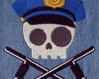 Police Skully Embroidered Flour Sack Hand/Dish Towel
