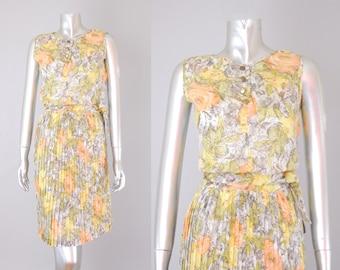 Briney pleated cotton floral skirt set | 1960s skirt set | vintage 1960s skirt