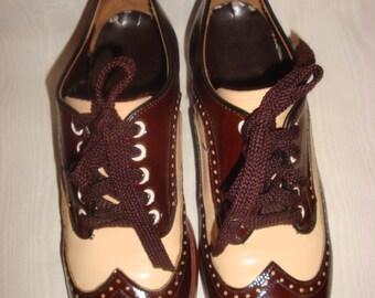Brown/Biege Patent Leather Oxfords 8D