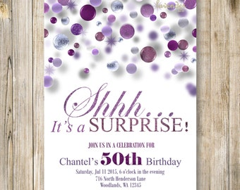 Pink and silver surprise 60th birthday invite shhh its a surprise 40th birthday party invitation shhh its a surprise invite purple glitter birthday invites woman 50th birthday 60th birthday filmwisefo