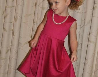 Girls Dress PDF pattern - Circle Skirt Twirl Skirt Dress, Toddler Twirl Dress PDF sewing pattern, circle skirt dress pdf sewing pattern