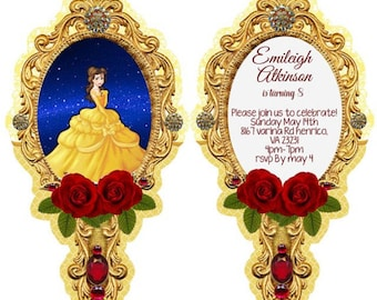 40 beauty and the beast invitations NOW die cut, and free white envelopes