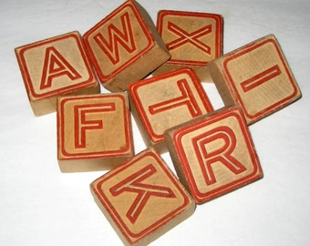 8 Vintage Alphabet Blocks for Crafting or Decorating