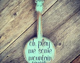 Banjo Sign, Musical Wall Art, Country Western Music Decor, Wood Sign, Banjo Decor, Bluegrass Decor, Musical Decor, Banjo Gift, Musician Gift