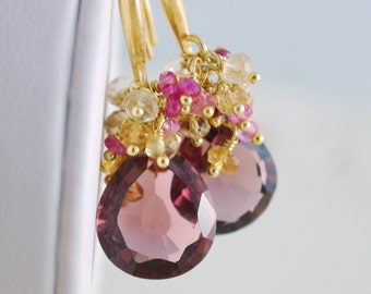 Fall Wedding Earrings Gold Bridal Jewelry Plum Kunzite Quartz Genuine Ruby Citrine Gemstone - Daylily - Complimentary Shipping