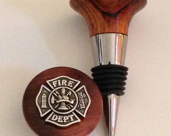 Fire Department Wine Stopper with hand turned Rosewood top