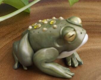 Green Toady Fantasy Fairy Garden Frog