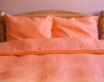 Natural Linen Bedding FULL Set 4 pcs, QUEEN SIZE Bed Linen, Double Bedding, Duvet Cover, Sheet, 2 Pillowcases, Orange Bed Set