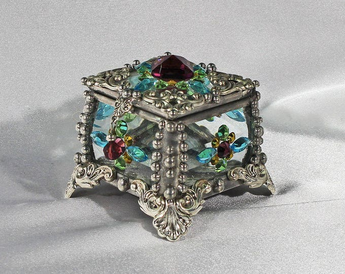 Jewel Encrusted X4 Fairy Box - vintage jewels, stained glass box, trinket box, ring box, engagement ring box