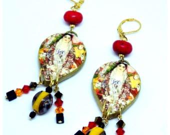"Polymer Clay Dangle Earrings - Klimt - ""Art Nouveau"" - Swarovski bicones"