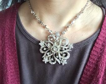 Flower wedding bridal rhinestones crystals and pearls necklace, bridal necklace, wedding necklace, crystals necklace, crystals necklace