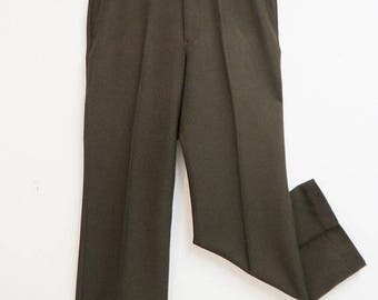 70's Brown Polyester Perma Prest Dress Suit Pants 34 x 30