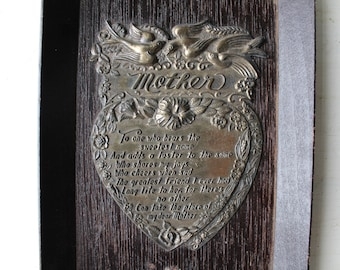 Vintage Framed Mother Poem - Mother's Day Gift - Mom Birthday - Wall Plaque - Heart Shaped - Victorian Style Wall Hanging