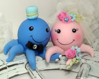 Octopus custom wedding cake topper - beach summer wedding - ocean cake topper