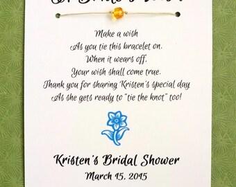 Garden Party - A Bride's Wish - Wish Bracelet Bridal Shower Favor Custom Made for You