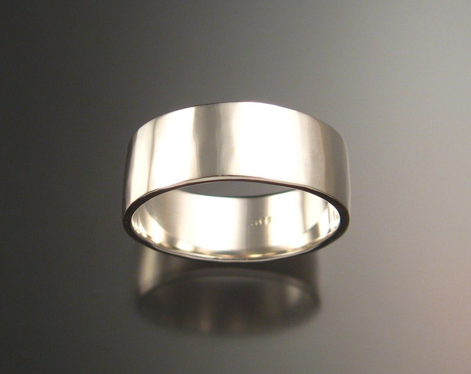 Heavy Sterling Silver Hammered finish 1 1/2mm x 7mm Rectangular Wedding band made to order in your size Wide Mans Ring