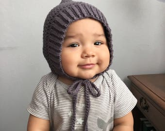 Baby Bonnet,  Toddler Bonnet, Crochet Pixie Bonnet, Baby Hat, Knit Baby Bonnet, Knit Baby Hat, Fall Hat, Winter Hat