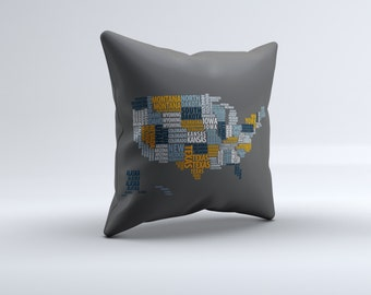 united states throw pillow, pillow, throw pillow,  home pillow, states pillow, modern throw pillow, 16x16, 18x18, 20x20,14x14, home decor
