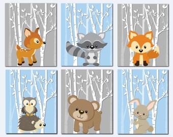 Woodland Nursery Wall Art, Forest Animals Wall Art, Kids Wall Art, Blue, Gray, Fox, Deer, Raccoon, Hedgehog, Owl, Set of 6, Prints or Canvas