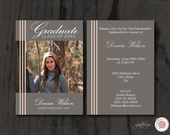 Peach and Gray Photo Graduation Invitation, Anouncement, Graduate, Class of, Digital Graduation Invitation, Printable, Custom