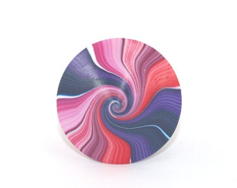 colorful psychedelic ombre spinning top dreidel, red violet rainbow handmade jewelry polymer clay