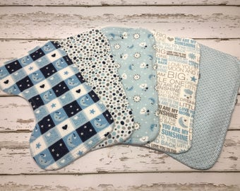 blue Burp cloth organic Boy Burp cloth blue baby shower sun moon stars burp cloth sun moon stars Baby shower baby boy gift boy burp cloths