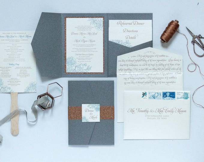 5x7 Formal Grey and Copper Rose Gold Glitter Pocket Wedding Invitation, Belly Band, Guest & Return Address Printing. Other Color Options!