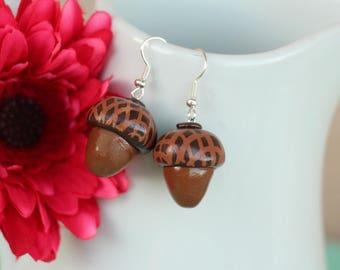Earrings small acorns fall Fimo