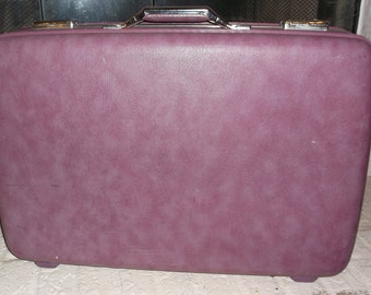 RESERVED for Susan Vintage  Purple Suitcase American Tourister Clean and with Key Luggage
