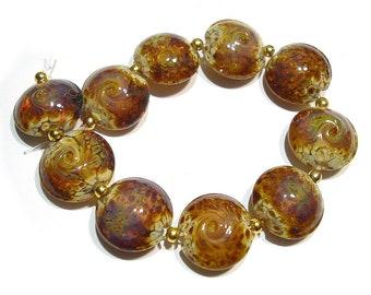 Handmade Glass SRA Lampwork Beads, Small Raku Lentils