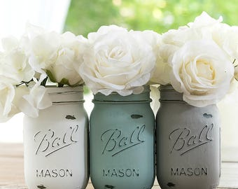 Baby Blue, White, Gray Painted & Distressed Mason Jars - Baby Shower, Baby Room, Centerpiece
