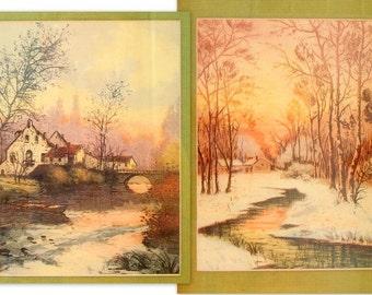 Vintage Framed Print - Winter Sunset Scenery Prints in Antiqued Gold Picture Frames, Set of 2