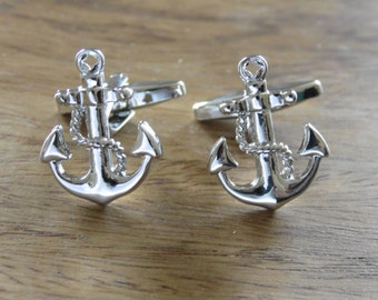 Nautical Gifts - Anchor cufflinks, Silver cufflinks, maritime gifts, Classic cufflinks, mens jewellery,sailor gifts, yachts men, anchor
