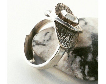 Bengt Hallberg vintage silver ring with a rock crystal.