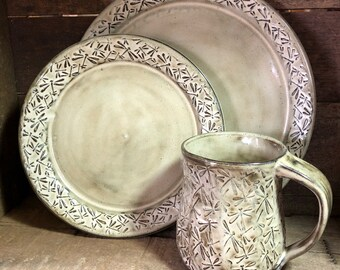 Dragonfly pottery  12-16 piece dinnerware set with embossed dragonflies service for four